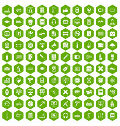 100 training icons hexagon green vector