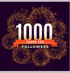 1000 followers thank you celebration firework vector