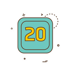 20 date calender icon design vector