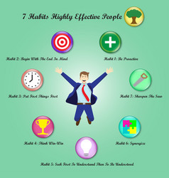 7 habits - jumping businessman surrounded by icons vector