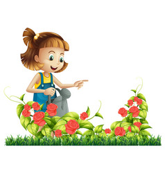 A girl watering rose tree vector