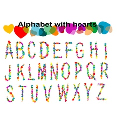 Alphabet with hearts vector image
