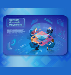 Analysis tools in business teamwork concept vector