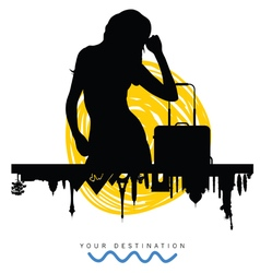 ancient monument travel with girl silhouette vector image