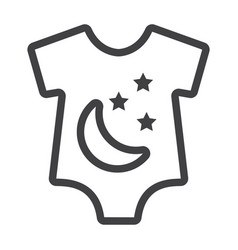 Baby romper line icon baby clothes and kid vector