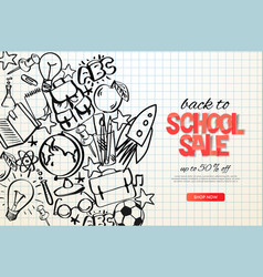 back to school sale template school doodle on vector image