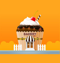 Bakery cake shop store building front vector