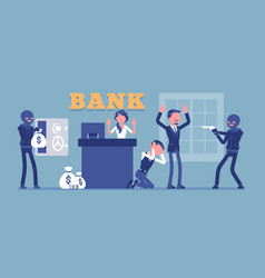Bank robbery masked criminals vector