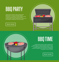 Bbq party flyers with meats on barbecue vector