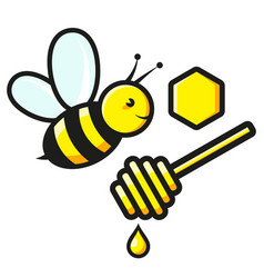 bee and honey honeycomb symbol vector image