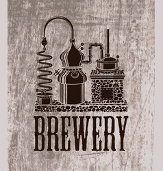Beer banner with brewery equipment in retro style vector