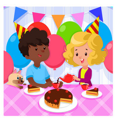Birthday party with happy kids and cake on bright vector