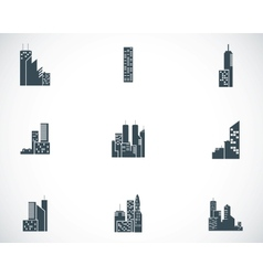 black building icons set vector image