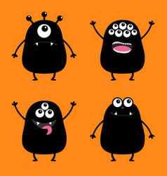 black monster silhouette set cute cartoon scary vector image