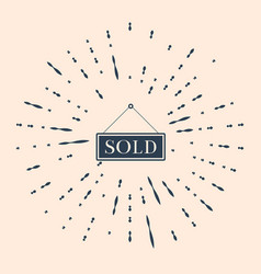 Black sold icon isolated on beige background sold vector