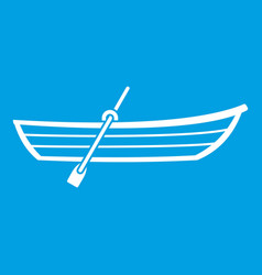 Boat with paddle icon white vector