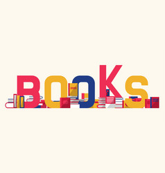 Books and textbooks with bookshelf vector