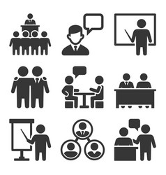 Business conference and meeting icons set vector