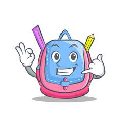 Calling school bag character cartoon vector