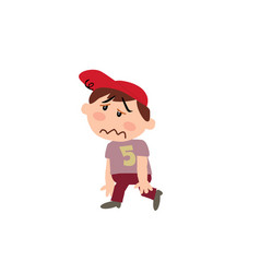 cartoon character of a dizzy white boy with red ca vector image