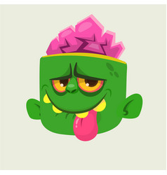 cartoon cute happy zombie head showing tongue vector image