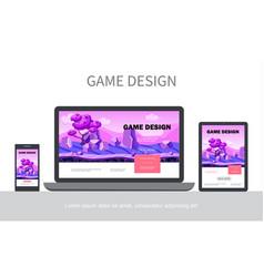 Cartoon game design ui concept vector