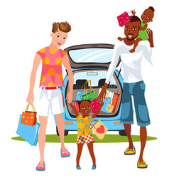 Cartoon smiling guys doing shopping with little vector