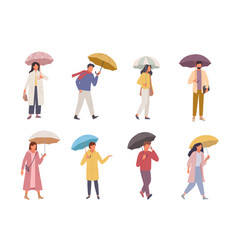characters with umbrellas set people walk in vector image