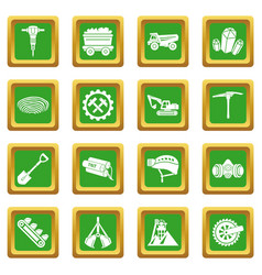 Coal mine icons set green square vector