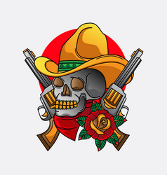 cowboy skull traditional tattoo vector image