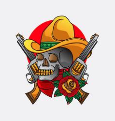 Cowboy skull traditional tattoo vector