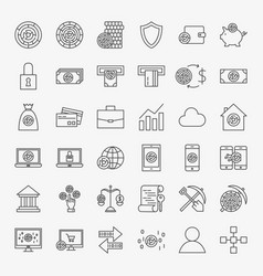 Cryptocurrency line icons set vector