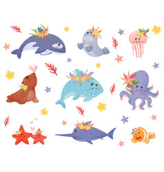 Cute cartoon sea animals and fish vector