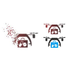 Disappearing pixel halftone medical drone icon vector