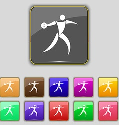 Discus thrower icon sign Set with eleven colored vector
