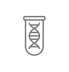 Dna molecule in test tube line icon vector