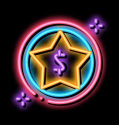 Dollar star bonus neon glow icon vector