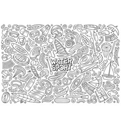 doodle cartoon set water sport objects vector image