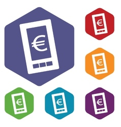 Euro phone rhombus icons vector