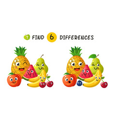 Finding differences children game with happy vector