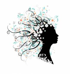 Floral head silhouette vector