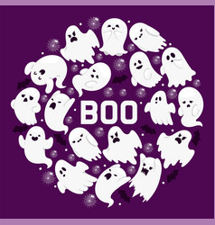 ghost pattern cartoon scary spooky ghosted vector image