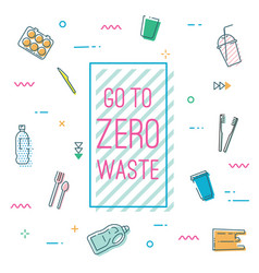 go to zero waste banner in memphis style vector image