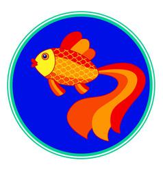 gold fish on round window vector image