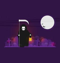 Grim reaper with a scythe an a lantern halloween vector