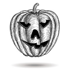 Halloween carved pumpkin hand drawn sketch vector