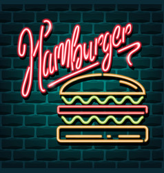 hamburger neon advertising sign vector image