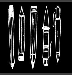 hand drawn stationery set doodle set school vector image