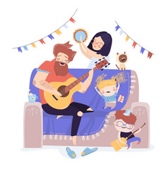 happy family playing music vector image