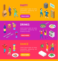 home party concept banner horizontal set isometric vector image